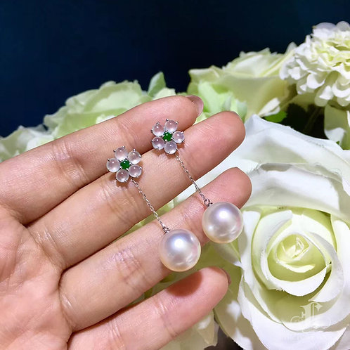 AAAA 11-12mm White South Sea Pearl Earring Jacket, 18k Gold w/ Jadeite