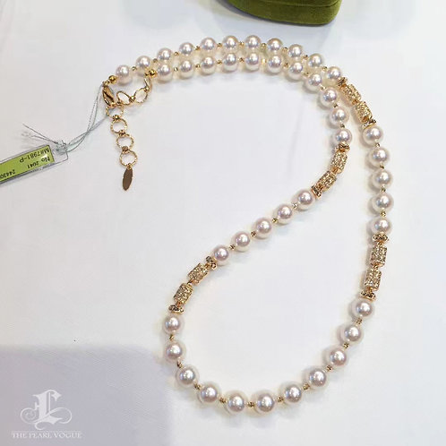 80cm Long Necklace, AAAA 7-7.5 mm Akoya Pearl Novel Sweater Strand 18k Gold