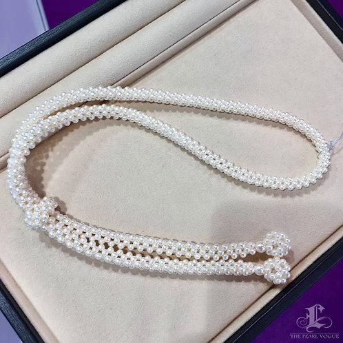 70m, AAAA 3.5-7 mm Akoya Pearl Weave Necklace w/ Japanese Certificate