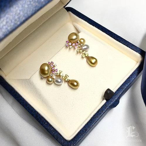 AAAA 3-6 mm Wild South Sea Pearl Earrings 18k Gold w/ Diamond