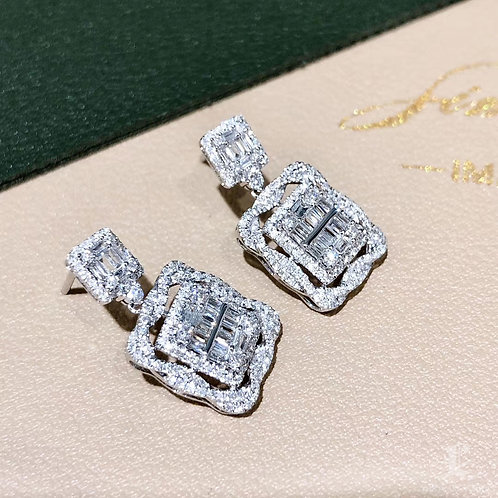 1.00ct FG/SI Micro-Pave Natural Diamond Earrings 18k Gold