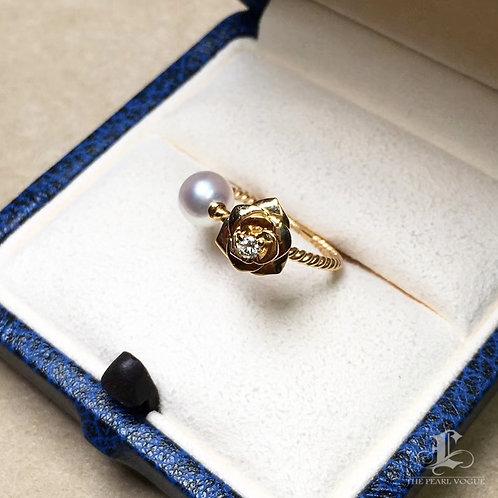 6-7 mm Akoya Pearl Ring 18k Gold w/ Diamond - AAAA