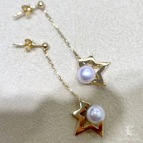 Famous Style! AAAA 7-7.5 mm Akoya Pearl Star Earrings 18k Gold