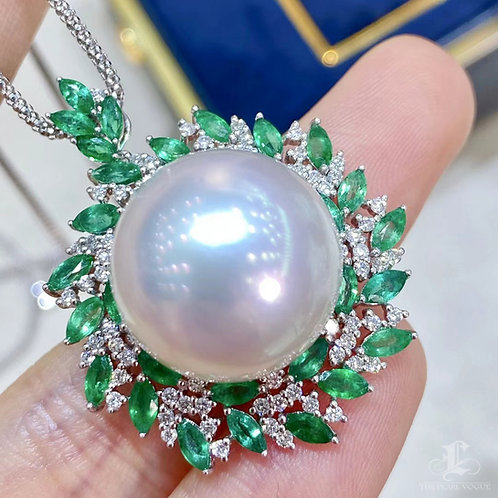 2.55 ct Emerald AAAA 16-17 mm South Sea Pearl Pendant 18k Gold w/ Diamond