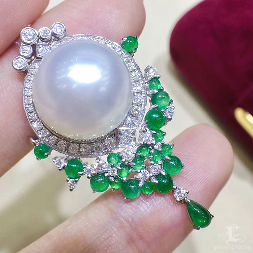 1.70ct Emerald, AAAA 14-15 mm South Sea Pearl Pendant Brooch 18k Gold w/ Diamond