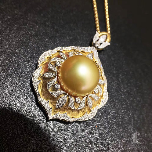 CUSTOMIZE | 0.76ct Diamond AAAA 13-14 mm South Sea Pearl Royal Pendant, 18k Gold