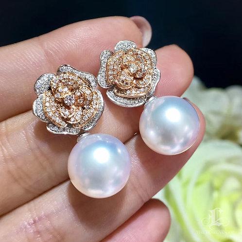 0.90ct Diamond AAAA 12-13mm White South Sea Pearl Rose Earring Jacket, 18k Gold