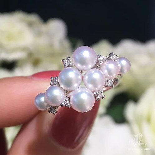 AAAA 4-5mm Baby Akoya Pearl Ring, 18k Gold w/ Diamond