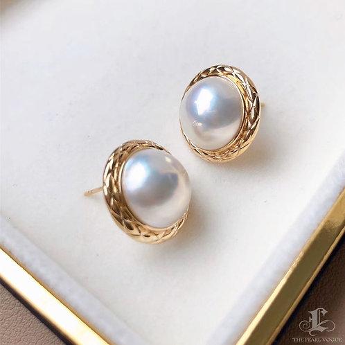 AAAA 12-13 mm Mabe Pearl Classic Earrings 18k Gold