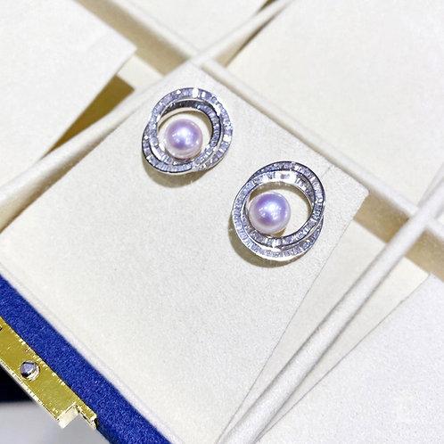 1.68 ct F/G Natural Diamond AAAA 8.5-9 mm Akoya Pearl Earrings 18k Gold