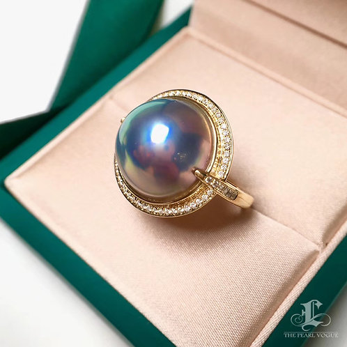 0.32ct Diamond AAAA 14-15 mm Mabe Pearl Ring, 18k White Gold