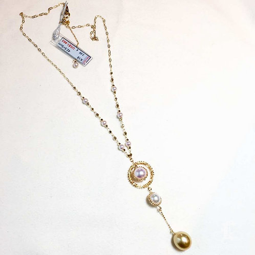 47cm, AAAA 4-11 mm Akoya Pearl & South Sea Pearl Novel Strand Necklace 18k Gold