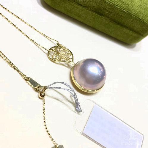 18-19 mm  Mabe Pearl Classic Pendant 18k Gold w/ Diamond - AAAA