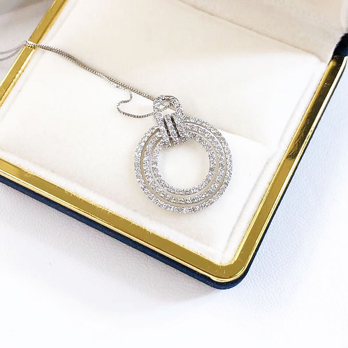 1.05 ct GH/SI Micro-Pave Natural Diamond Pendant Necklace 18k Gold