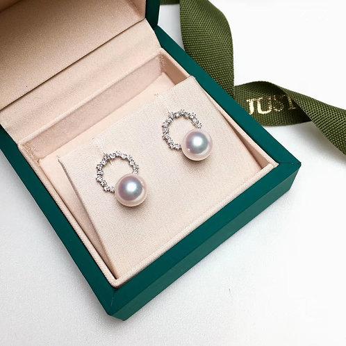 0.30ct Diamond, AAAA 7-7.5 mm Akoya Pearl Earrings, 18k Gold
