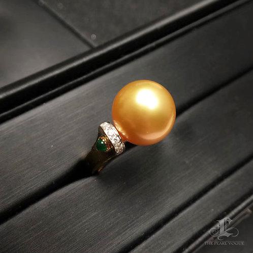 0.38ct Diamond AAAA 12-13mm South Sea Pearl Ring 18k Gold w/ Emerald