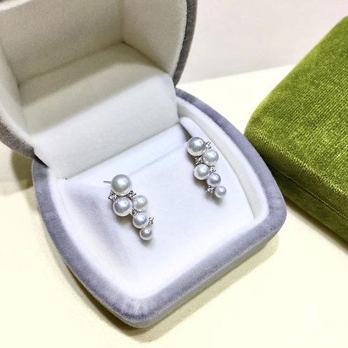 0.20ct Diamond, AAAA 3.5-5.5 mm Baby Akoya Pearl Earrings, 18k Gold