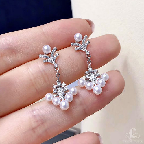 0.49 ct Diamond AAAA 3.5-4.5 mm Akoya Pearl Earrings 18k Gold