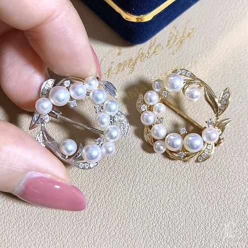 0.28ct Diamond, AAAA 3-6 mm Baby Akoya Pearl Pendant Brooch 18k Gold