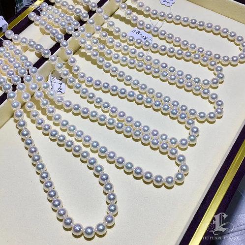 45cm, Aurora Hanadama|天女 8-8.5mm Akoya Pearl Classic Necklace w/ Japanese Certft