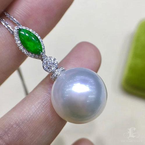 Royal Green Ntl Jade, AAAA 15-16 mm South Sea Pearl Pendant, 18k Gold w/ Diamond