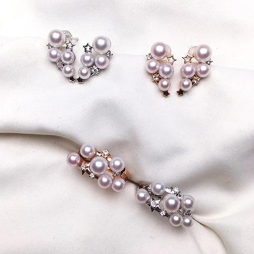 0.11ct Diamond, AAAA 3-6mm Baby Akoya Pearl Fashion Earrings, 18k Gold