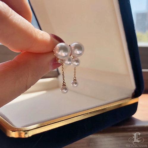 AAAA 3.5-8.5mm Baby Akoya Pearl Fashion Earrings, 18k Gold w/ Diamond