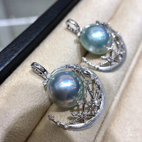 Aurora AAAA 14-15 mm Mabe Pearl Pendant 18k Gold w/ Diamond