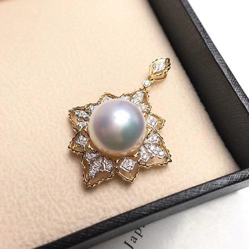 0.27ct Diamond AAAA 13-14mm White South Sea Pearl Royal Pendant, 18k Gold