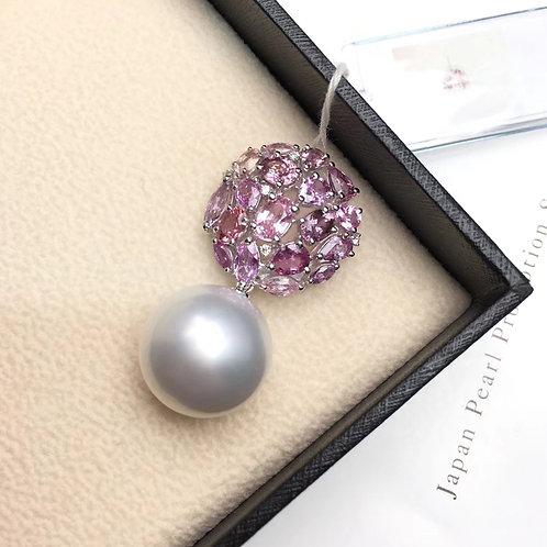 5.41ct Sapphire AAAA 16mm South Sea Pearl Pendant, 18k Gold w/ Diamond