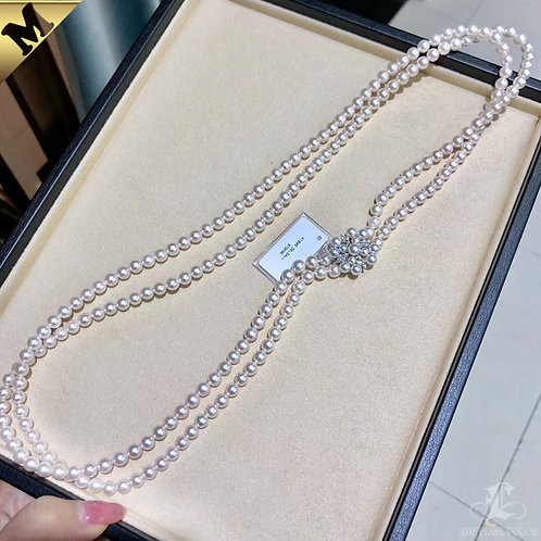PMS 70cm, AAAA 6-6.5 mm Akoya Pearl Double Strand Necklace w/ Diamond Clasp