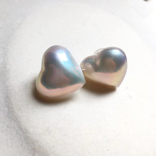 18-19 mm Heart Mabe Pearl Clip-on Earring 18k White Gold - AAA