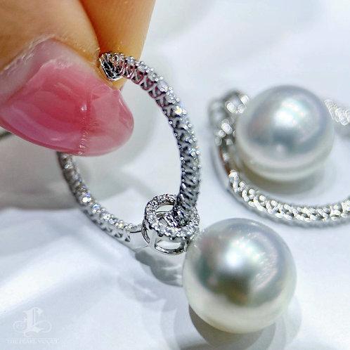 0.60 ct Diamond, AAAA 11-12 mm South Sea Pearl Earrings Pendant 18k Gold w/ J.C.