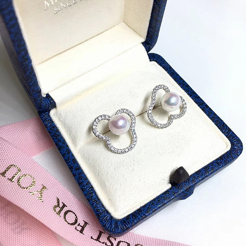 0.60ct Diamond, AAAA 7-7.5mm Akoya Pearl Earrings 18k Gold