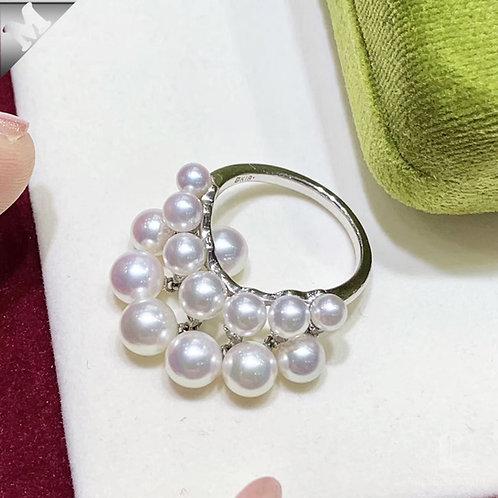 ORIGINAL MIKIMOTO | 3.5-6 mm Akoya Pearl Ring 18k Gold w/ Diamond