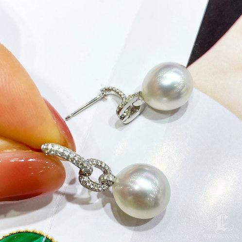 0.43 ct SI Diamond, AAAA 10-11 mm South Sea Pearl Earrings 18k Gold