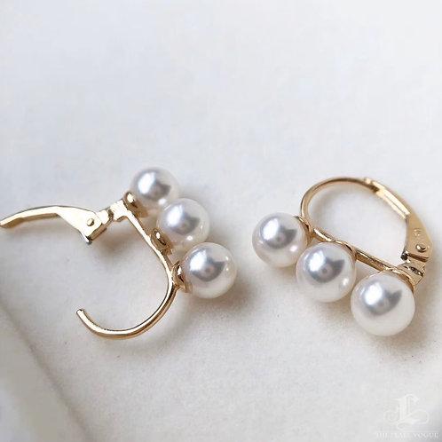 AAAA 5-5.5 mm Akoya Pearl Fashion Earring 18k Gold