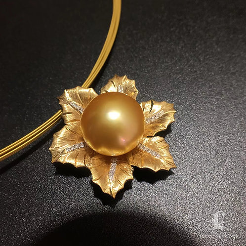 AAAA 13mm Golden South Sea Pearl Pendant Brooch, 18k Gold w/ Diamond