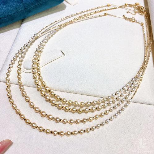 40-45 cm, AAAA 3-3.5 mm Akoya Pearl Gradient Ombre Sweater Strand 18k Go