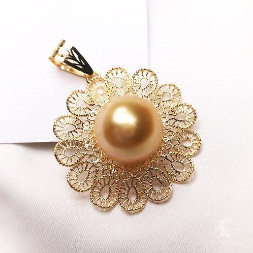 AAA 10-11mm Golden South Sea Pearl Camellia Pendant 18k Gold