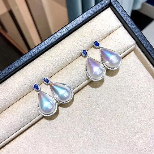 0.65ct Sapphire, AAAA 16 x 30 mm Drop Mabe Pearl Earrings, 18k Gold w/ Diamond