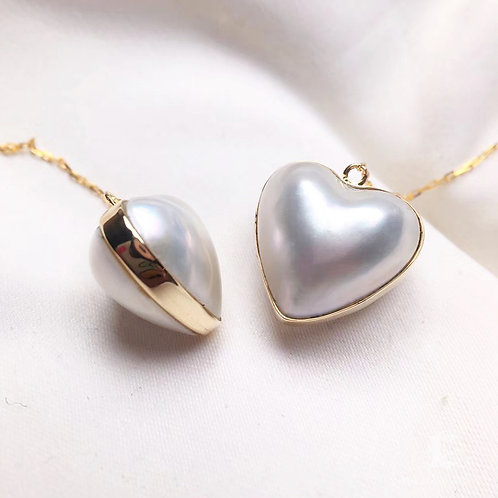 12-13mm Heart Mabe Pearl Threader Earrings 18k Gold - AAA