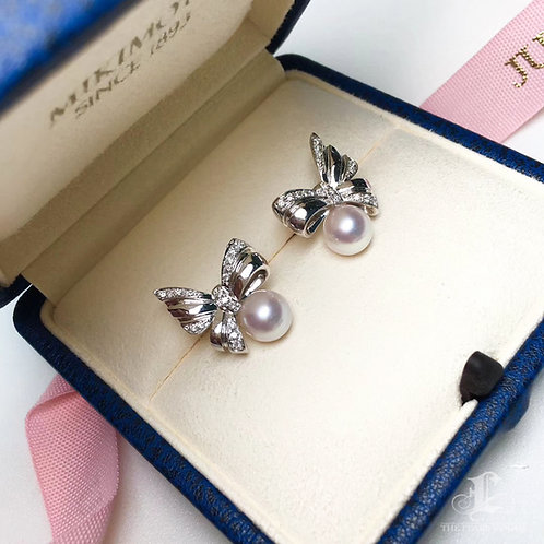 AAAA 8-8.5 mm Akoya Pearl Earrings 18k Gold w/ Diamond