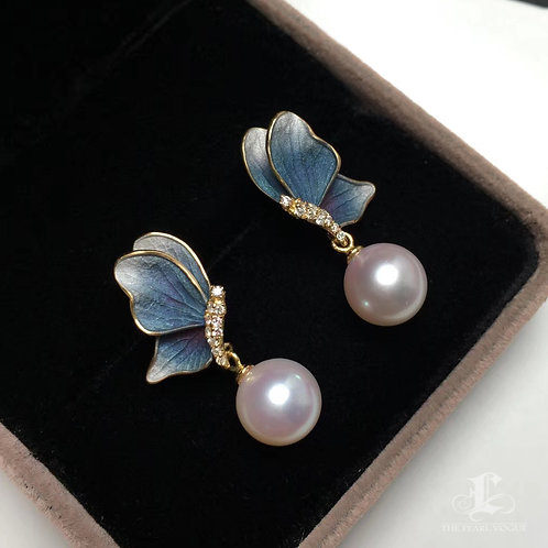 AAAA 9-9.5 mm Akoya Pearl Earrings, 18k Gold w/ Diamond