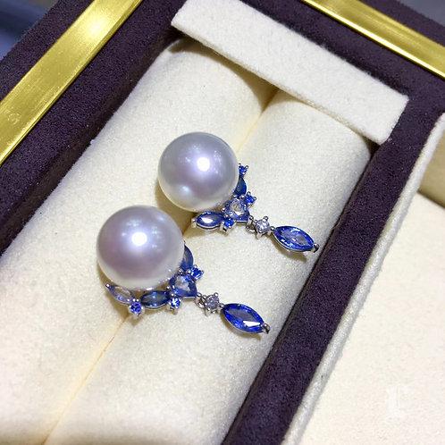 2.10ct Sapphire AAAA 10-11mm South Sea Pearl Earrings 18k Gold w/ Diamond