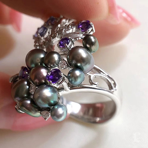 0.29ct Diamond KESHI 3-7 mm Wild Tahitian Pearl Ring 18k Gold w/ Sapphire