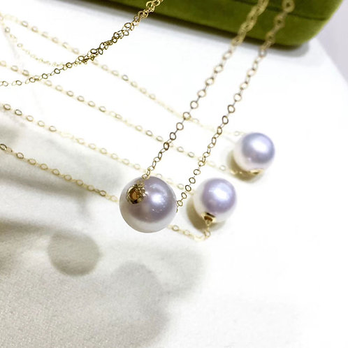 AAAA 9.5-10mm Akoya Pearl Lucky Necklace 18k Gold