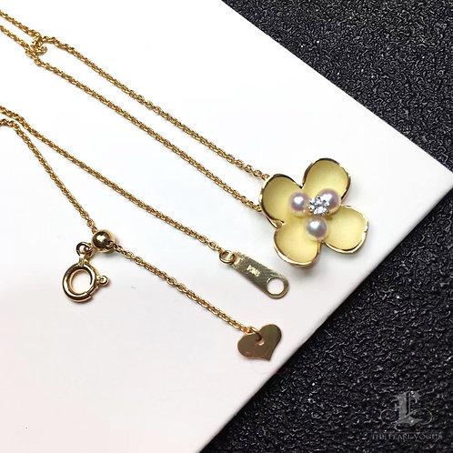 AAAA 2-3mm Baby Akoya Pearl Pendant, 18k Gold w/ Diamond