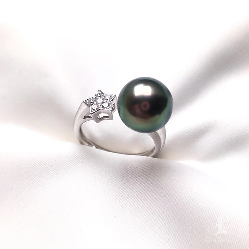 0.12ct Diamond AAAA 10.5-11mm Tahitian Pearl Adjustable Ring, 18k White Gold