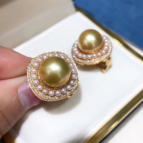0.61ct Diamnd AAAA 11mm South Sea Pearl Earrings 18k Gold w/ Freshwater Pearls